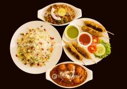 Seekh kabab, Kashmiri aalu, Pulau, chana kolapuri