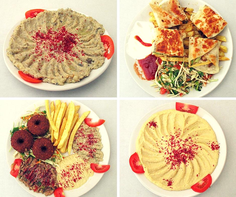 Hummus, Mutabal, Shawarma Wrap, Mix Veg Platter